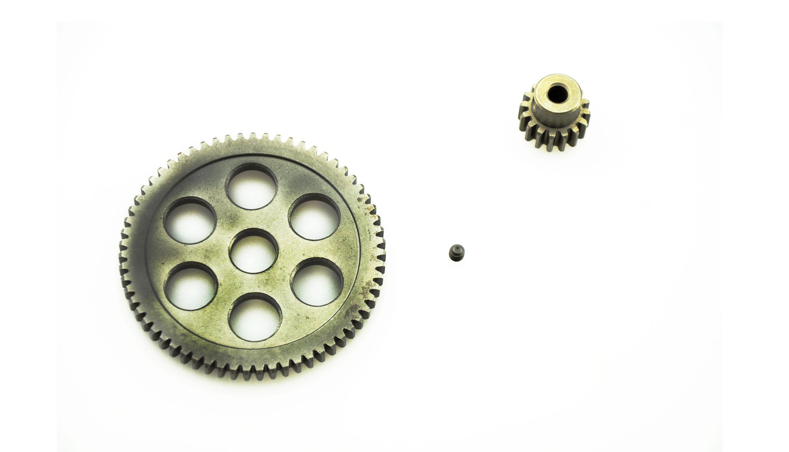 Hauptzahnrad & Motorritzel Stahl 63 Zaehne/16 Zaehne